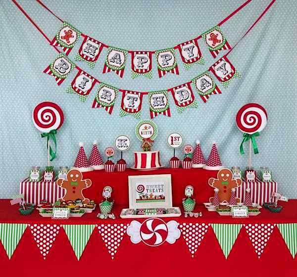 December Birthday Party Ideas  candy christmas birthday party
