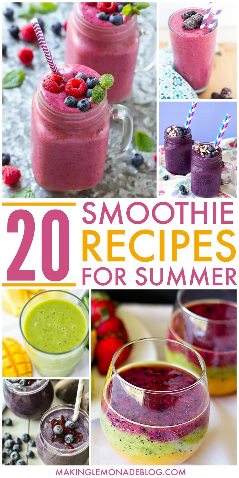 Delicious Smoothie Recipes  20 Delicious Smoothie Recipes for Summer