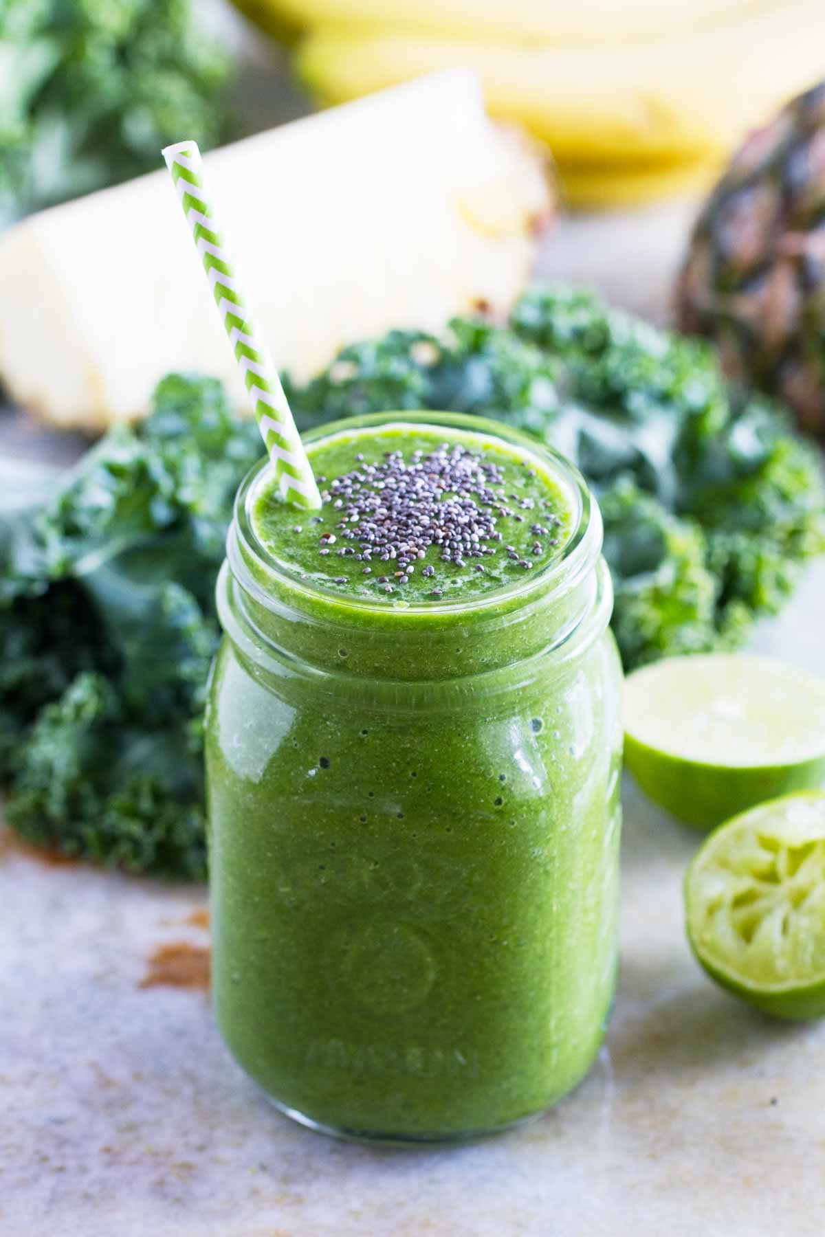 Delicious Smoothie Recipes  Healthy Pineapple Banana Kale Smoothie Recipe Taste and Tell