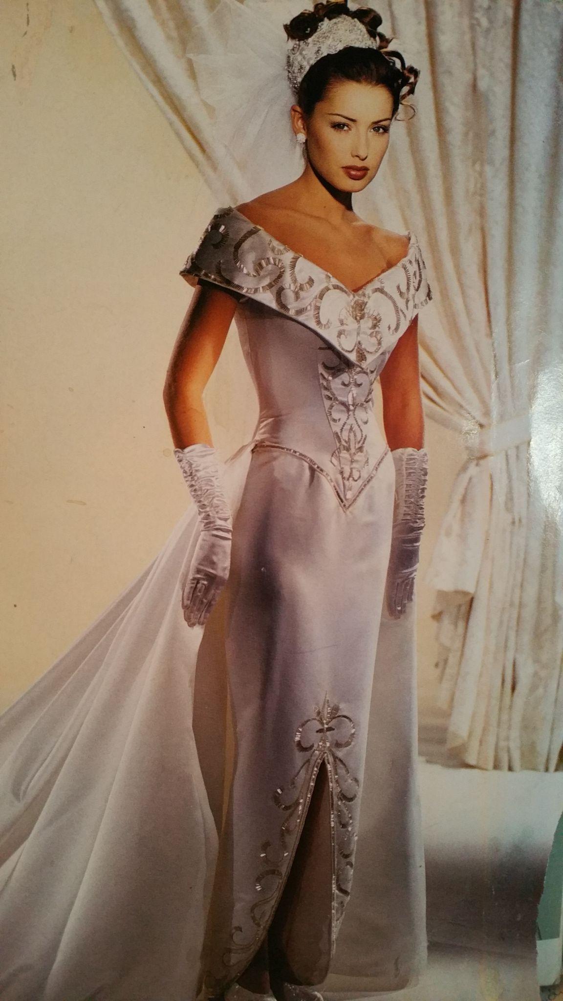 Demetrios Wedding Veils  Demetrios 1994 Silver beading and embroidery