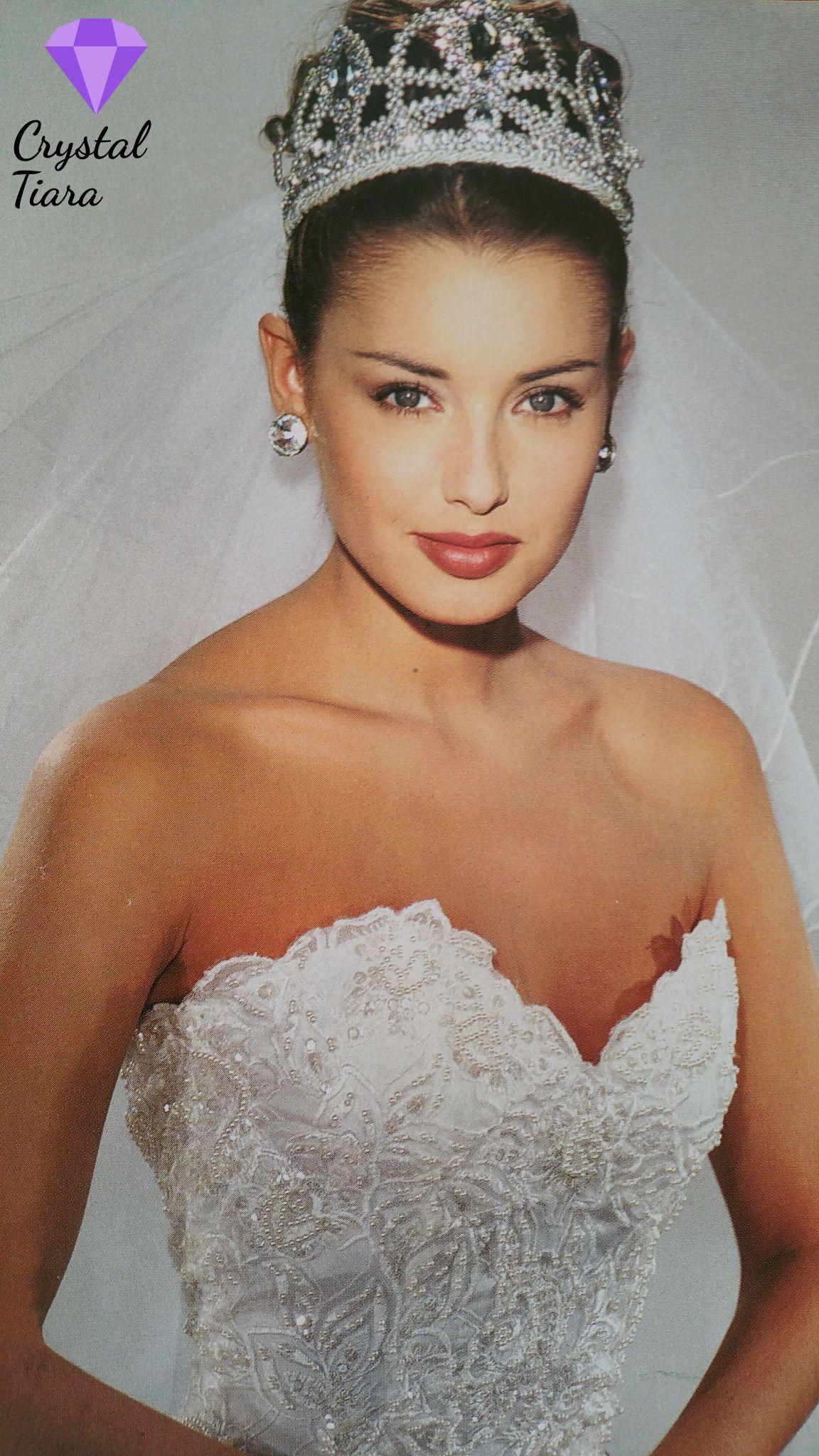 Demetrios Wedding Veils  Demetrios 1994 Crystal Tiara and a multi layered fingertip