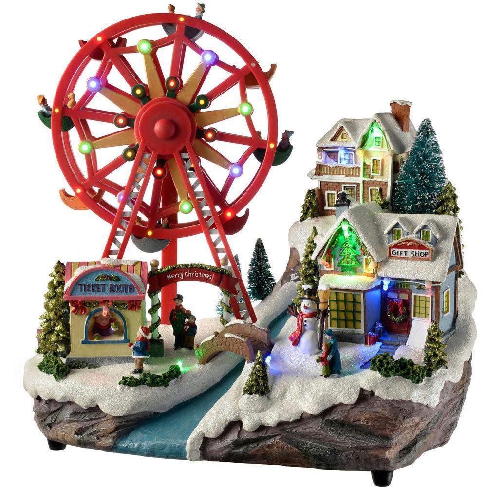 DIY Animated Christmas Decorations  36cm Pre Lit LED Animated Village Rotating Ferris Wheel