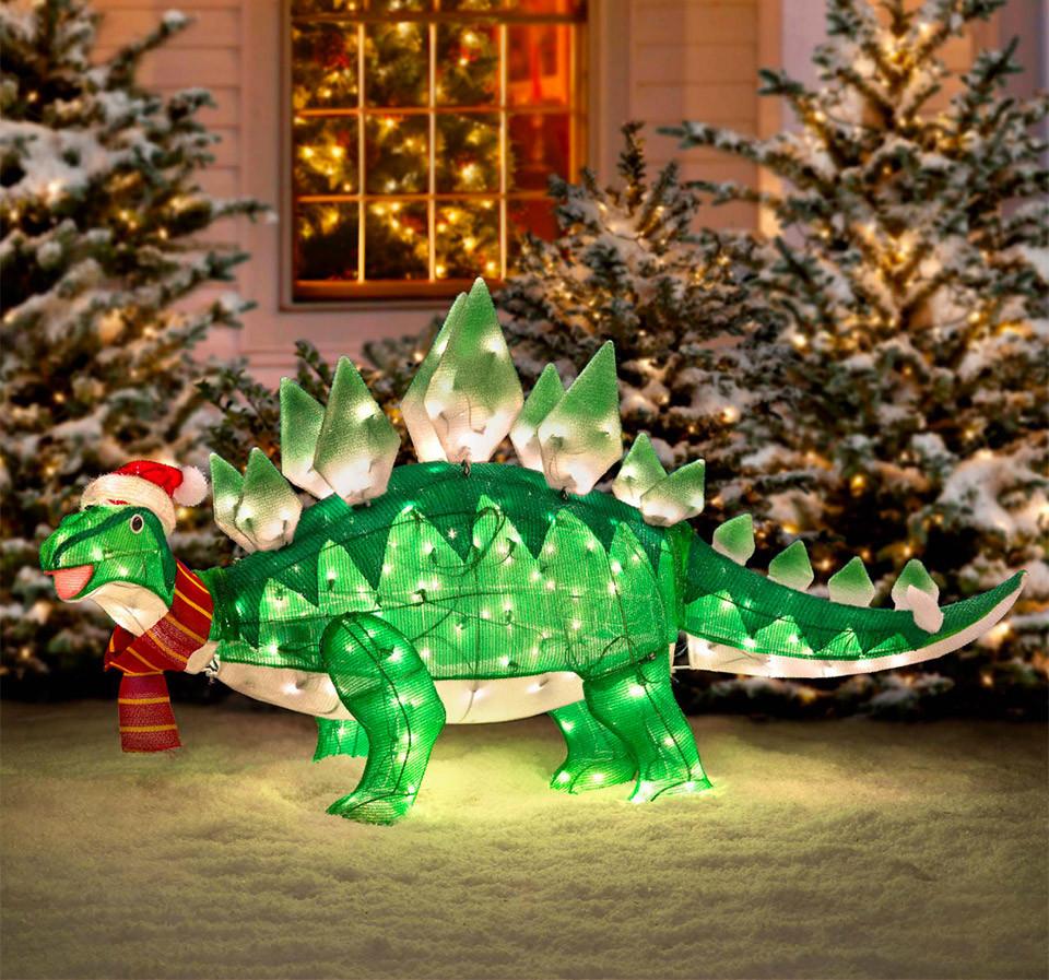 DIY Animated Christmas Decorations  Light up Animated Dinosaur Christmas Lawn Ornament