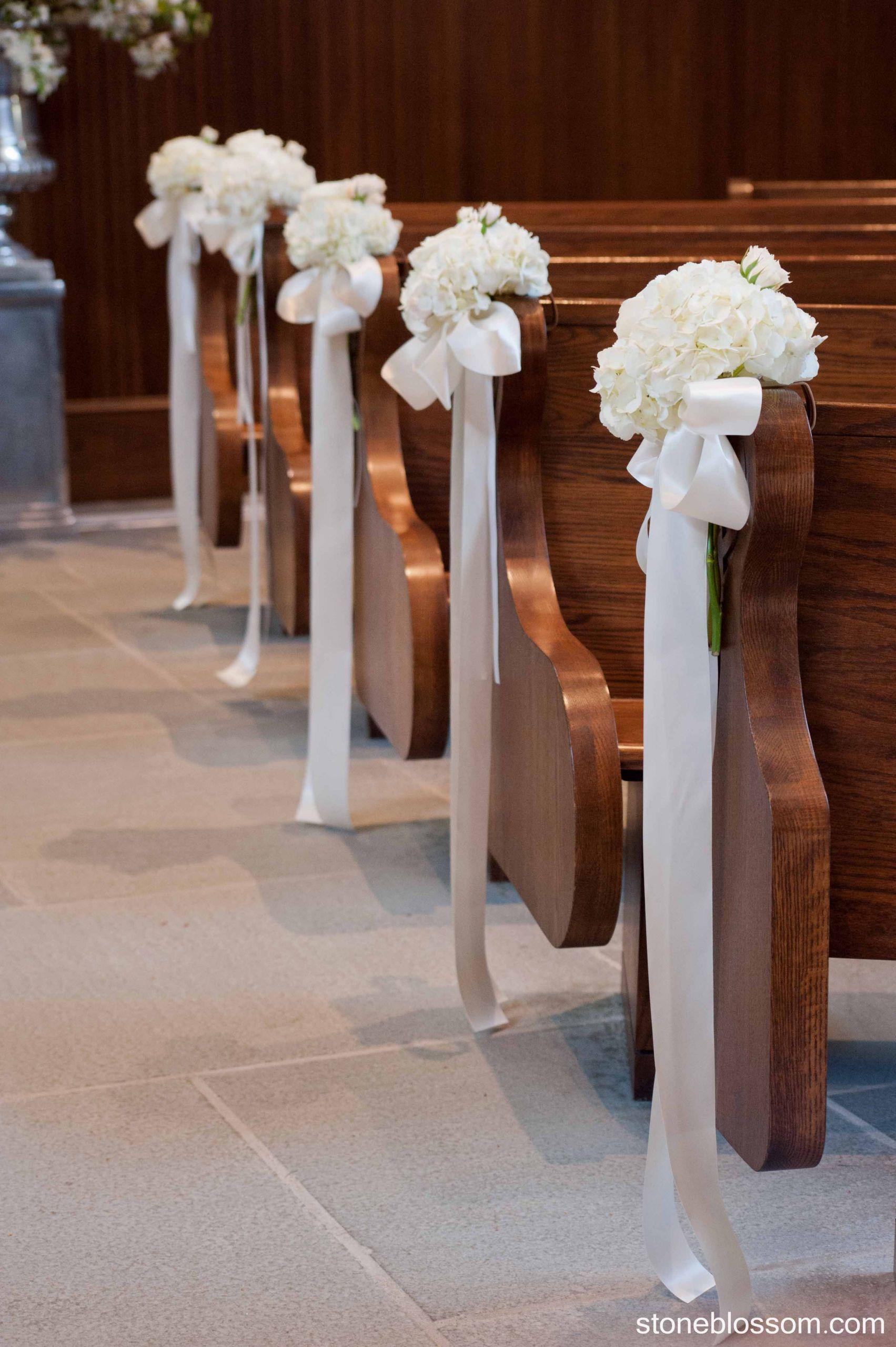DIY Church Wedding Decorations  Pew decorations Our Lady of Mercy Chapel Newport RI