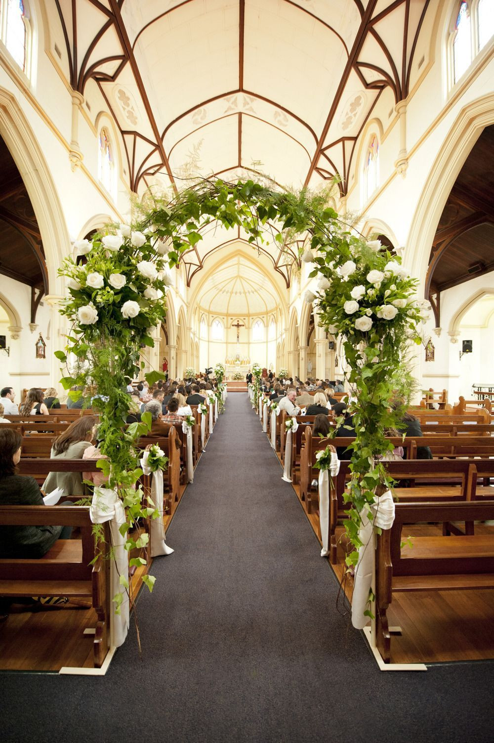 DIY Church Wedding Decorations  A Floral Arch IN the church love this wedding ceremony