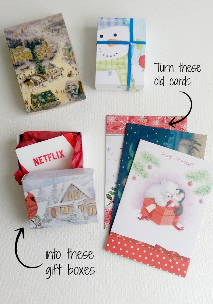 DIY Gift Card Boxes  DIY Gift Boxes Up cycling Christmas Cards Life In