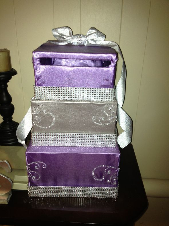 DIY Gift Card Boxes  DIY card box revised Purple and Silver with some bling