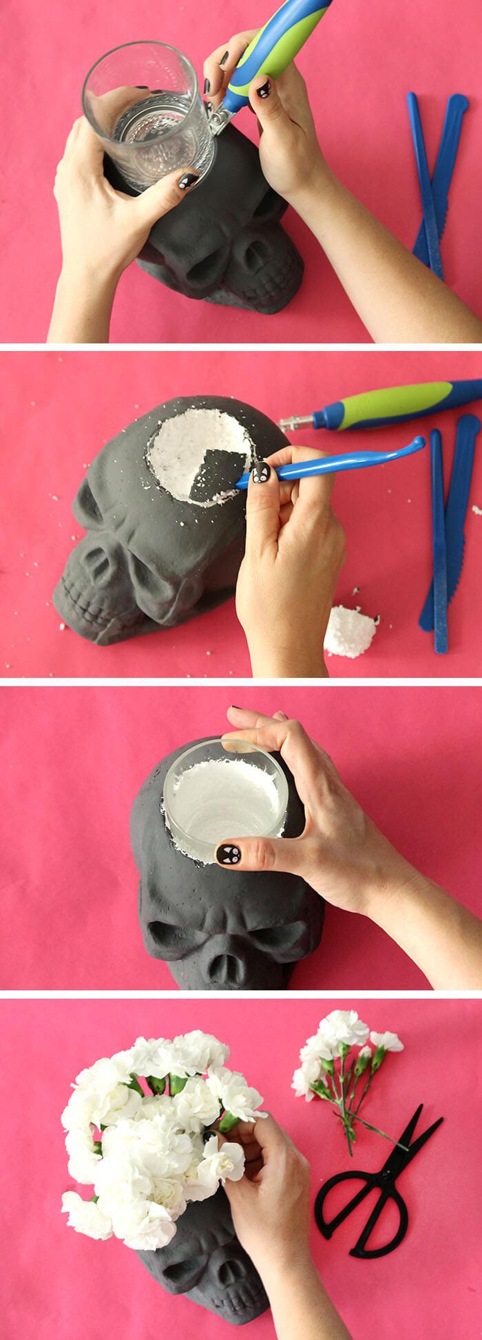Diy Halloween Party Decoration Ideas  DIY Skull Vase and Halloween Party Decor Persia Lou