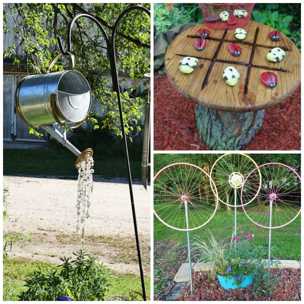 DIY Outdoor Art  15 DIY Garden Decor Ideas Watering Can Spin WheelLiving