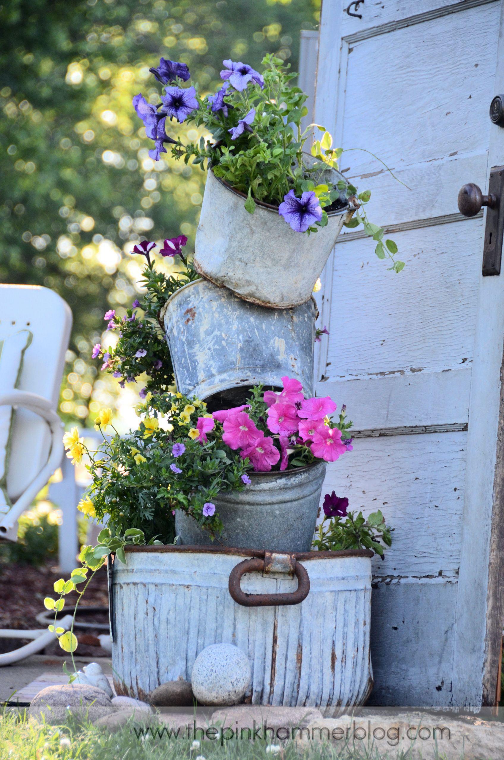 DIY Outdoor Art  Primitive tipsy pot planters