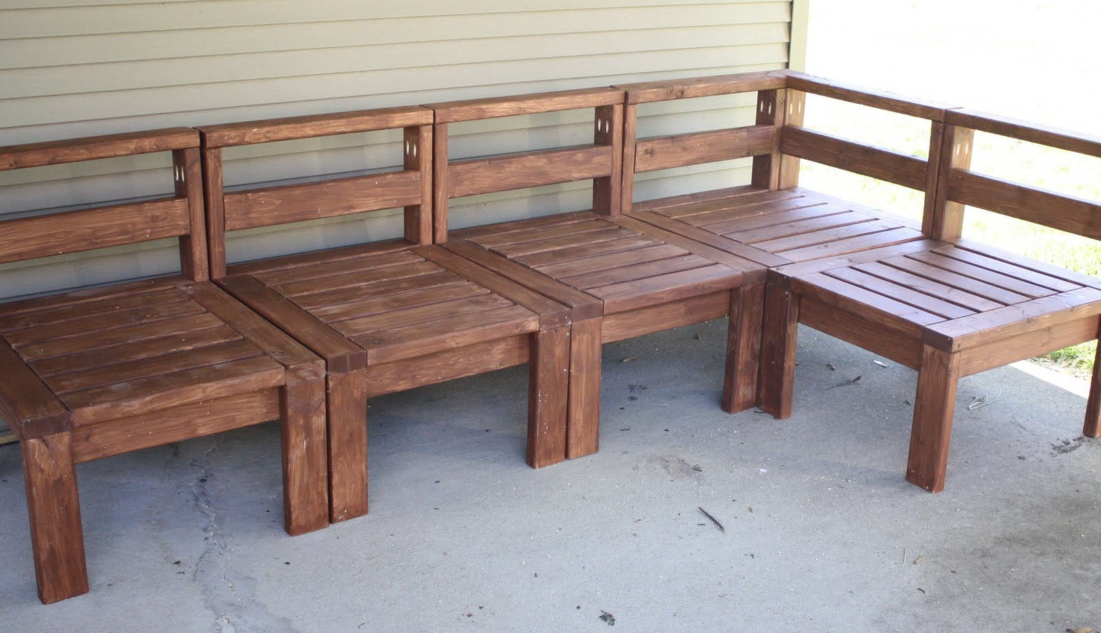 DIY Outdoor Sectional Plans  More Like Home 2x4 Outdoor Sectional