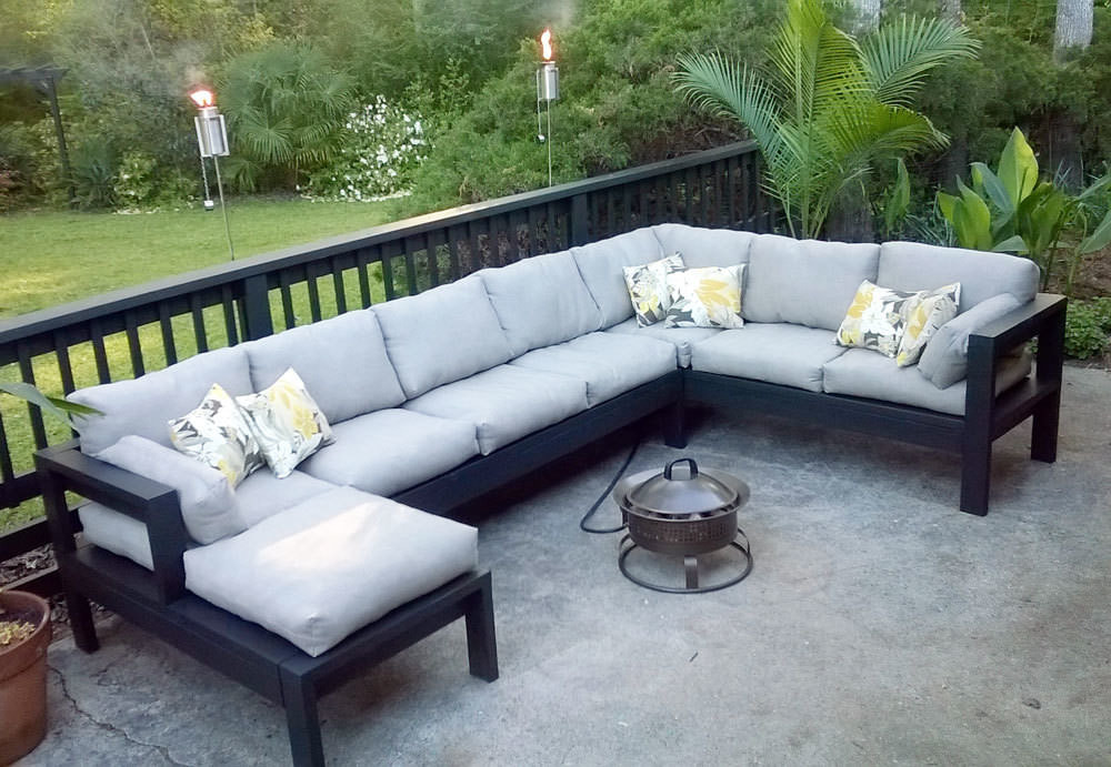 DIY Outdoor Sectional Plans  Perfect DIY Patio Ideas & Projects • The Bud Decorator