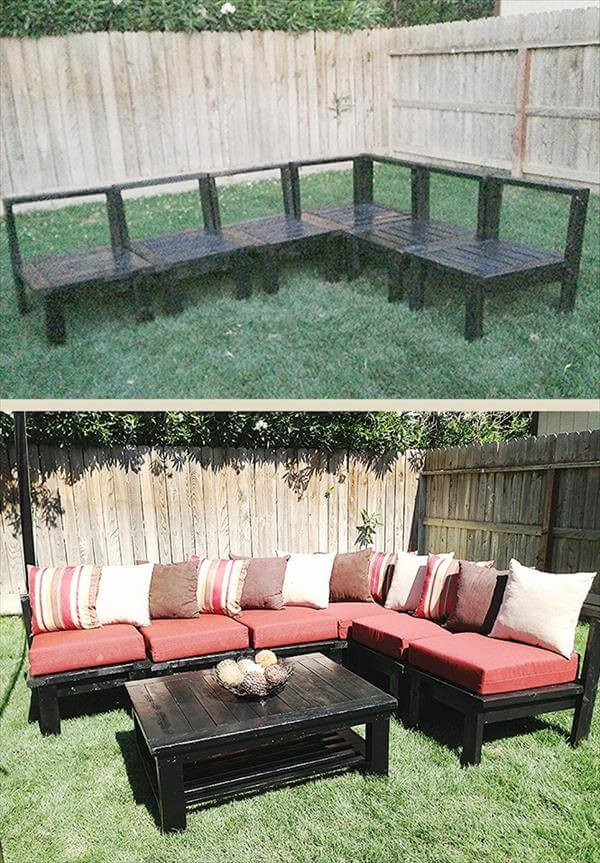 DIY Outdoor Sectional Plans  15 DIY Outdoor Pallet Sofa Ideas