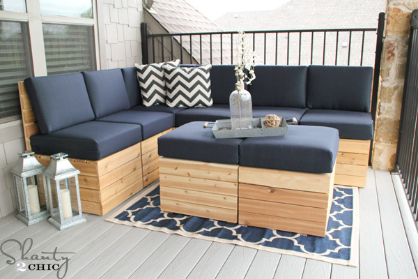 DIY Outdoor Sectional Plans  DIY Modular Sectional Corner Piece Plans Shanty 2 Chic