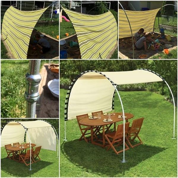 DIY Outdoor Shade  DIY Adjustable Outdoor Canopy