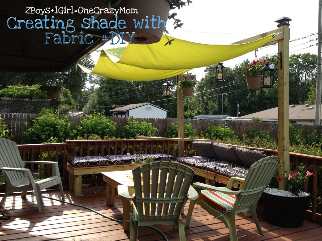 DIY Outdoor Shade  Create a simple Fabric Sail to add shade to your outdoor