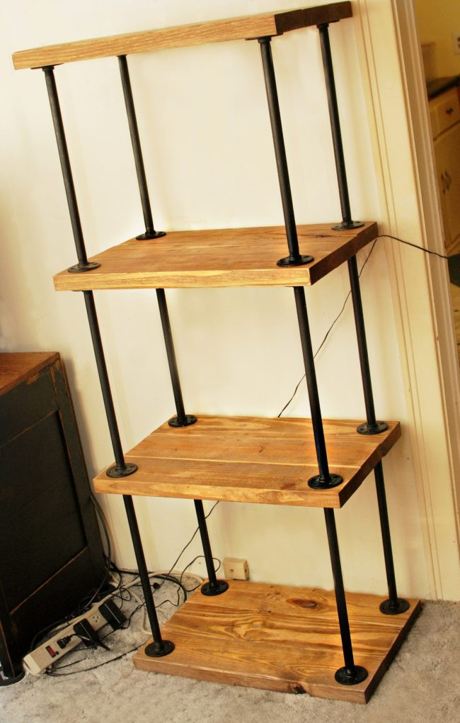 DIY Pipe And Wood Shelves  DIY Plans to Build a Pipe Bookshelf