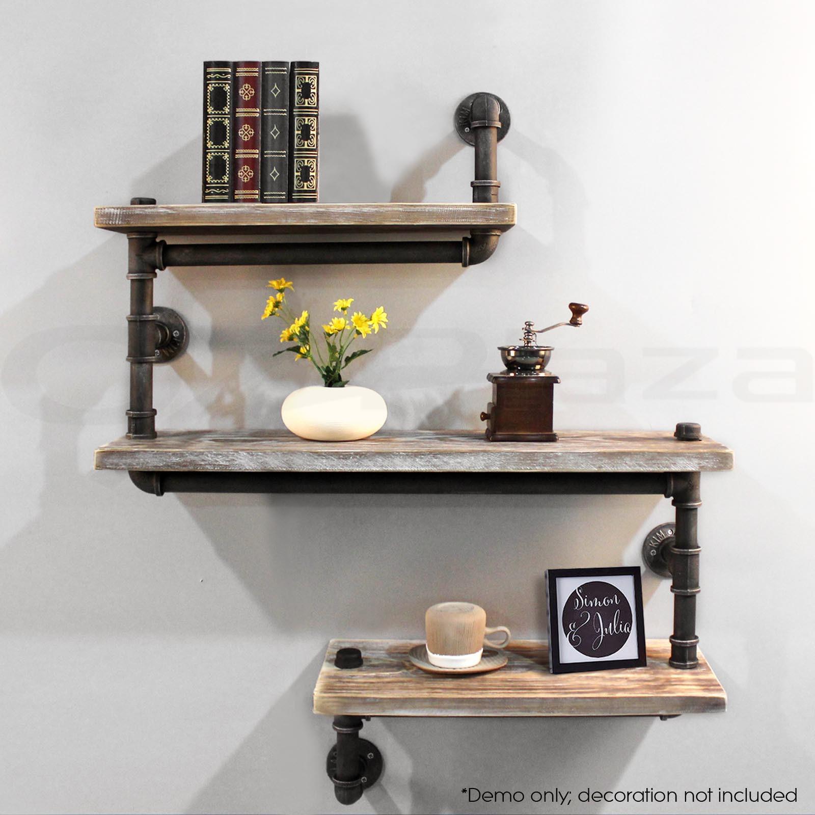 DIY Pipe And Wood Shelves  Rustic Industrial DIY Pipe Shelf Storage Vintage Wooden