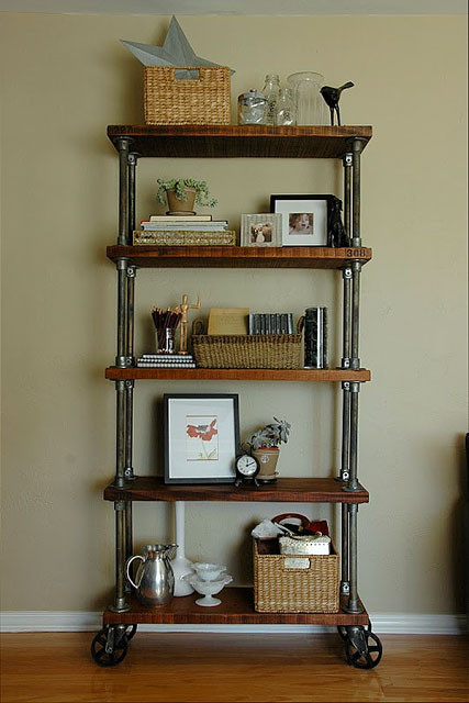 DIY Pipe And Wood Shelves  59 DIY Shelf Ideas Built With Industrial Pipe
