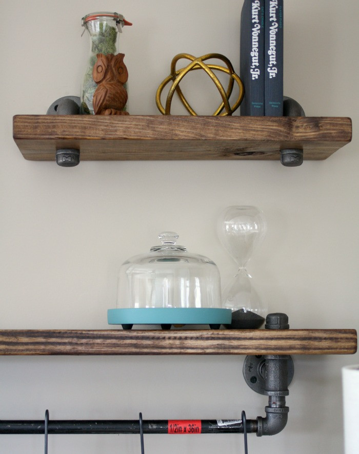 DIY Pipe And Wood Shelves  Industrial Pipe and Wood Bookshelves • Craft Thyme