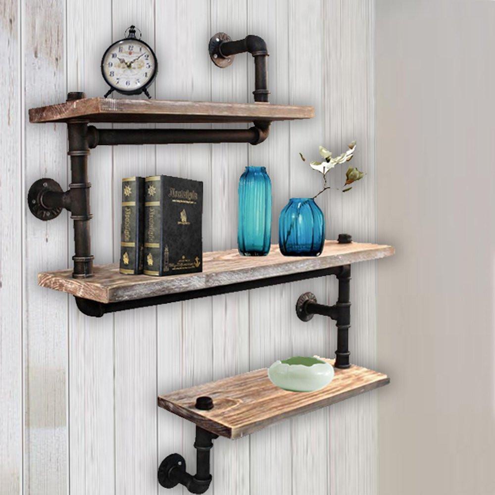 DIY Pipe And Wood Shelves  Reclaimed Wood Industrial DIY Pipe Shelf Shelves Steampunk