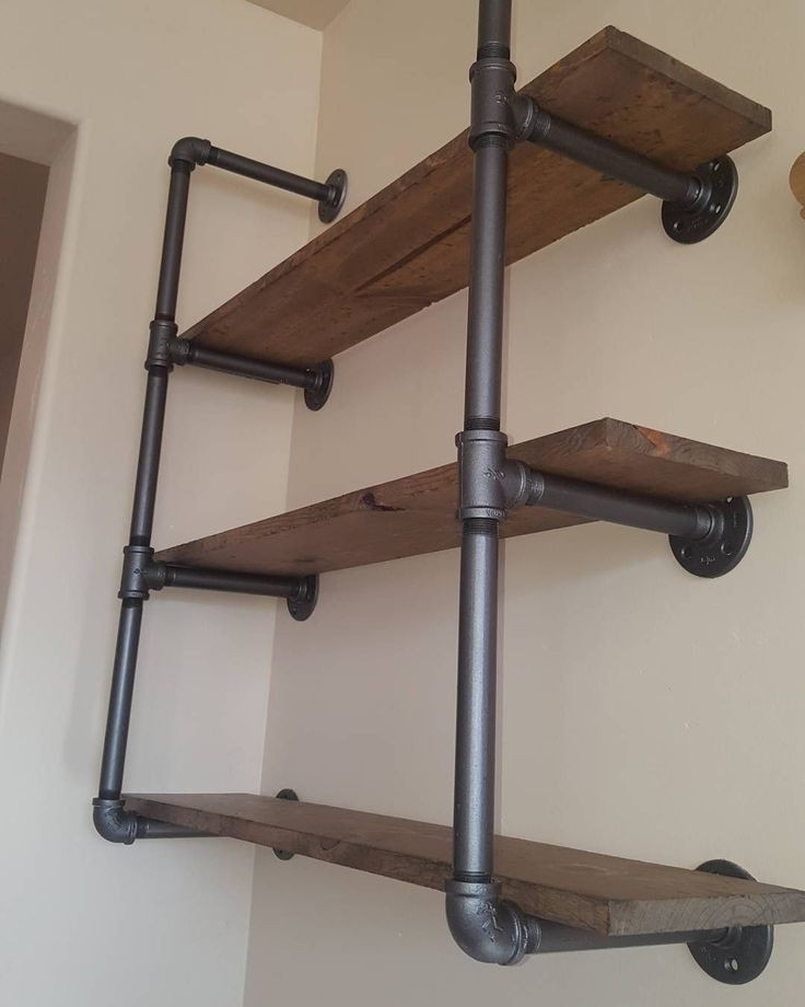 DIY Pipe And Wood Shelves  Industrial pipe shelving with reclaimed wood This unit