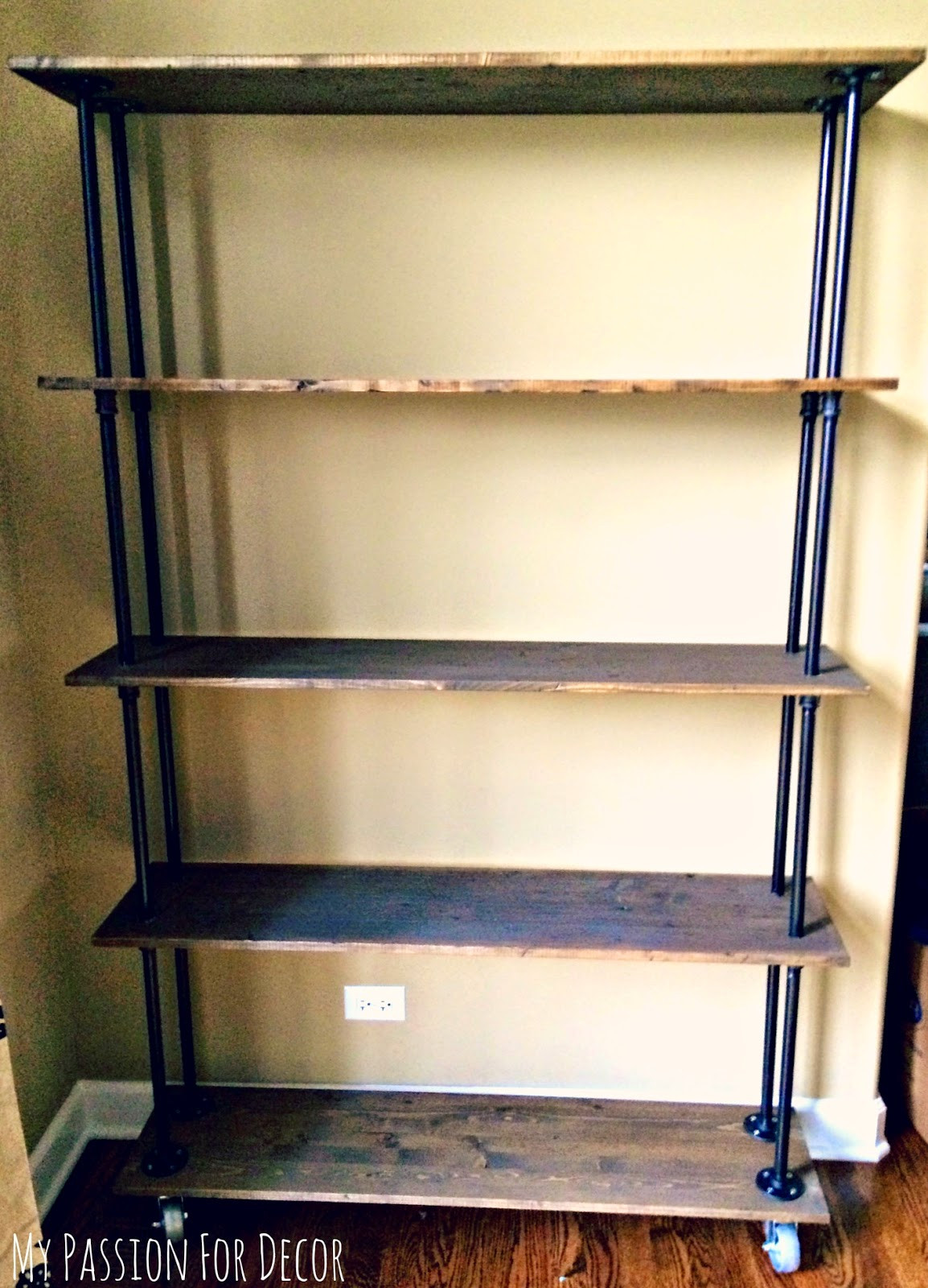 DIY Pipe And Wood Shelves  My Passion For Decor DIY Industrial Pipe and Wood Shelving