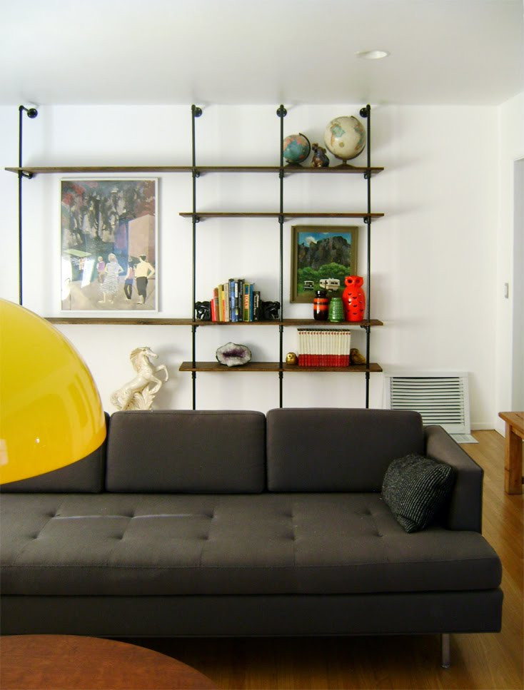 DIY Pipe And Wood Shelves  Picture Diy Wood And Pipes Shelving System