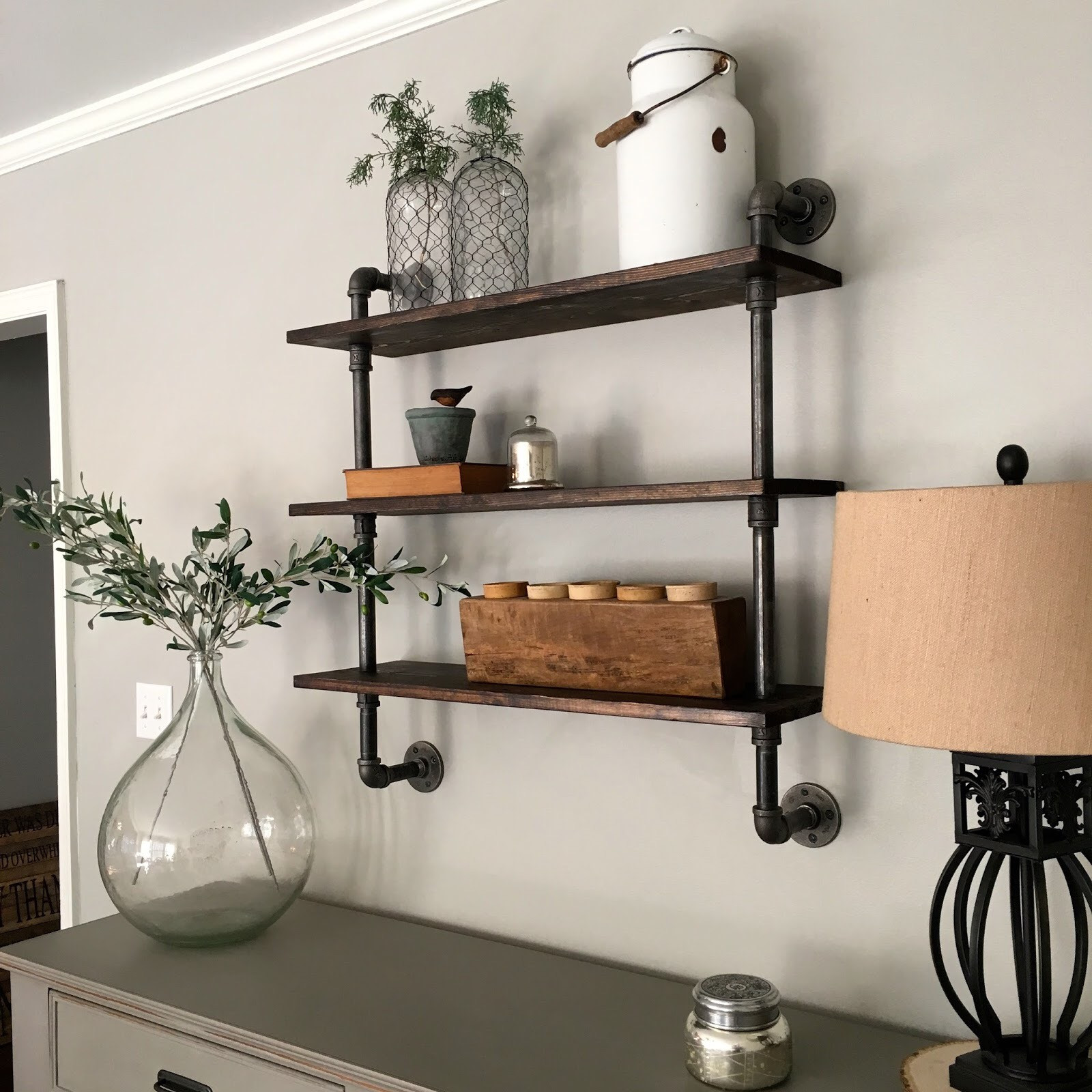 DIY Pipe And Wood Shelves  DIY Pipe Shelving Mindfully Gray