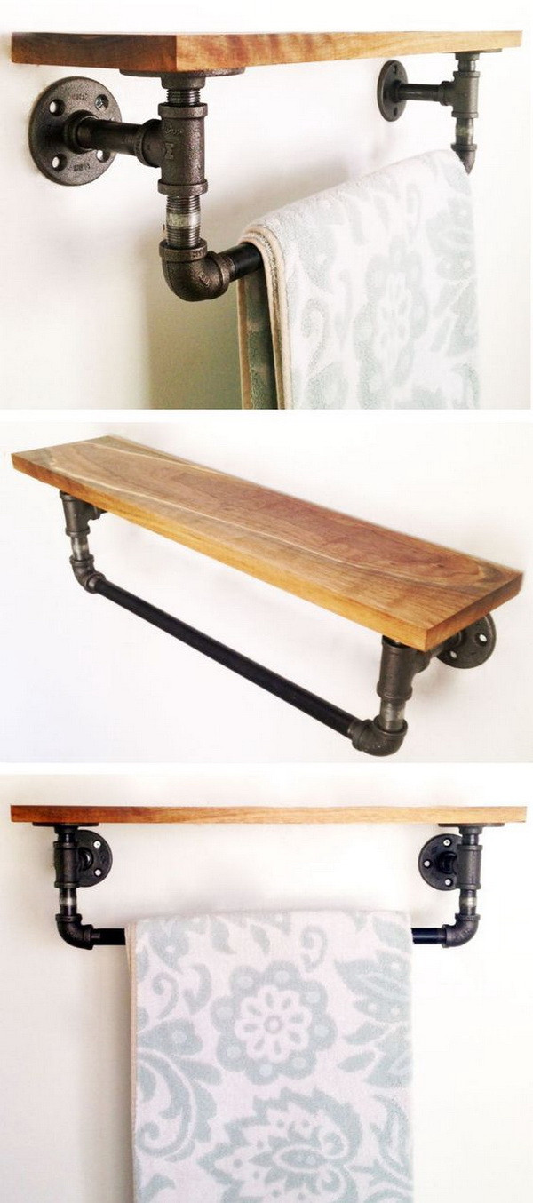 DIY Pipe And Wood Shelves  20 Brilliant DIY Shelves for Your Home For Creative Juice