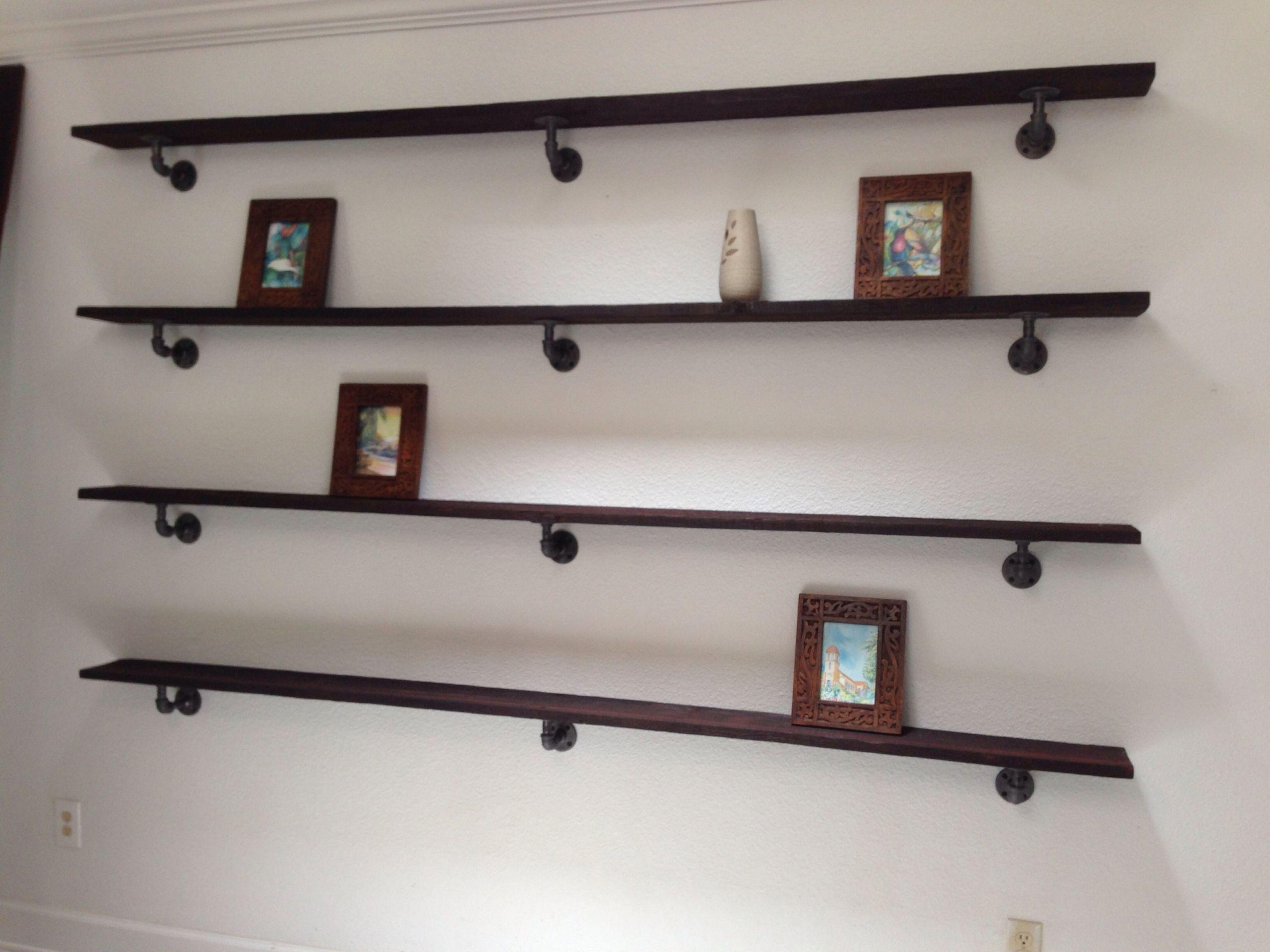 DIY Pipe And Wood Shelves  Custom barn wood shelves with urban rustic plumbing pipe
