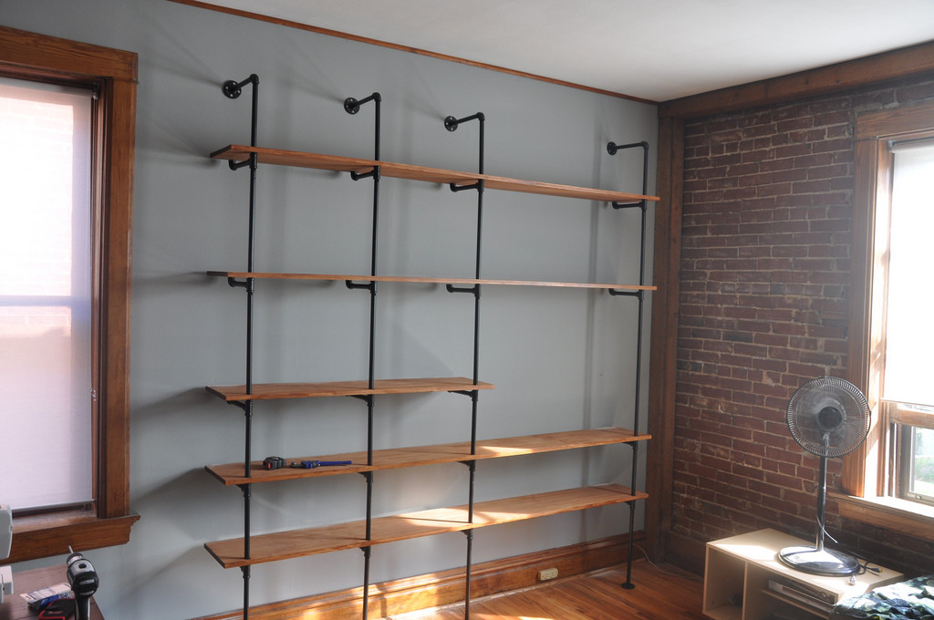 DIY Pipe And Wood Shelves  Industrial Chic Reclaimed Wood & Pipe Shelving Unit