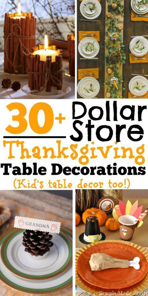 DIY Thanksgiving Decor Pinterest  30 DIY and Dollar Store Thanksgiving Table Decorations