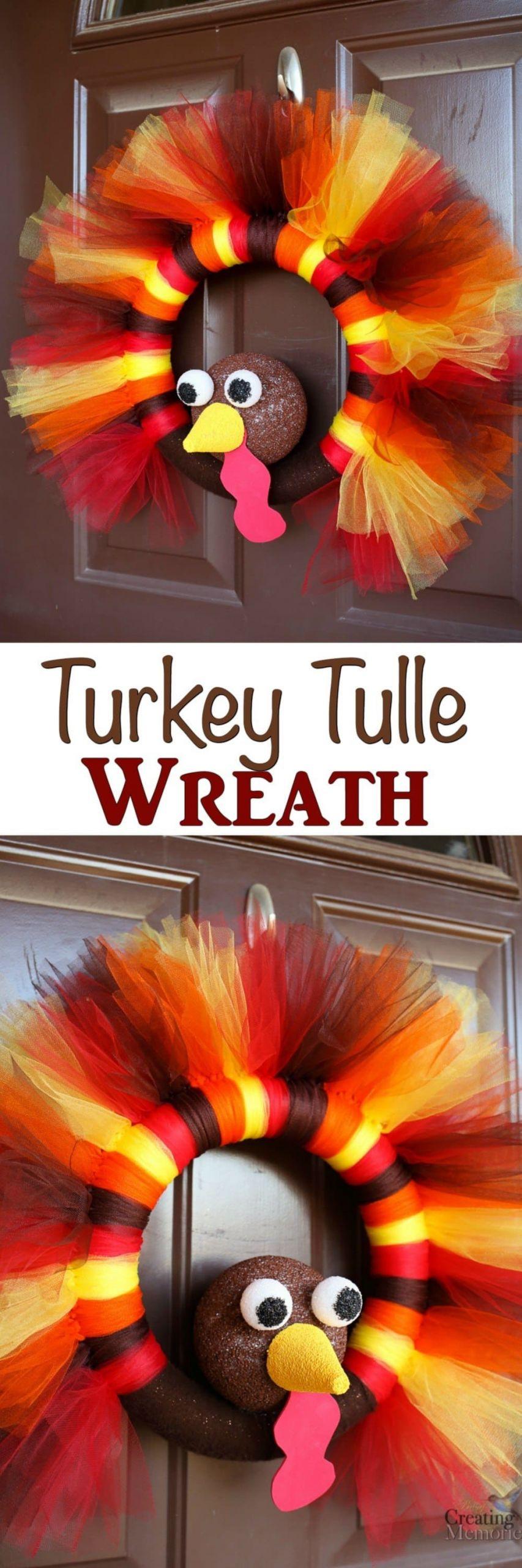 DIY Thanksgiving Decor Pinterest  DIY Turkey Tulle Wreath Best Thanksgiving Wreath for your door