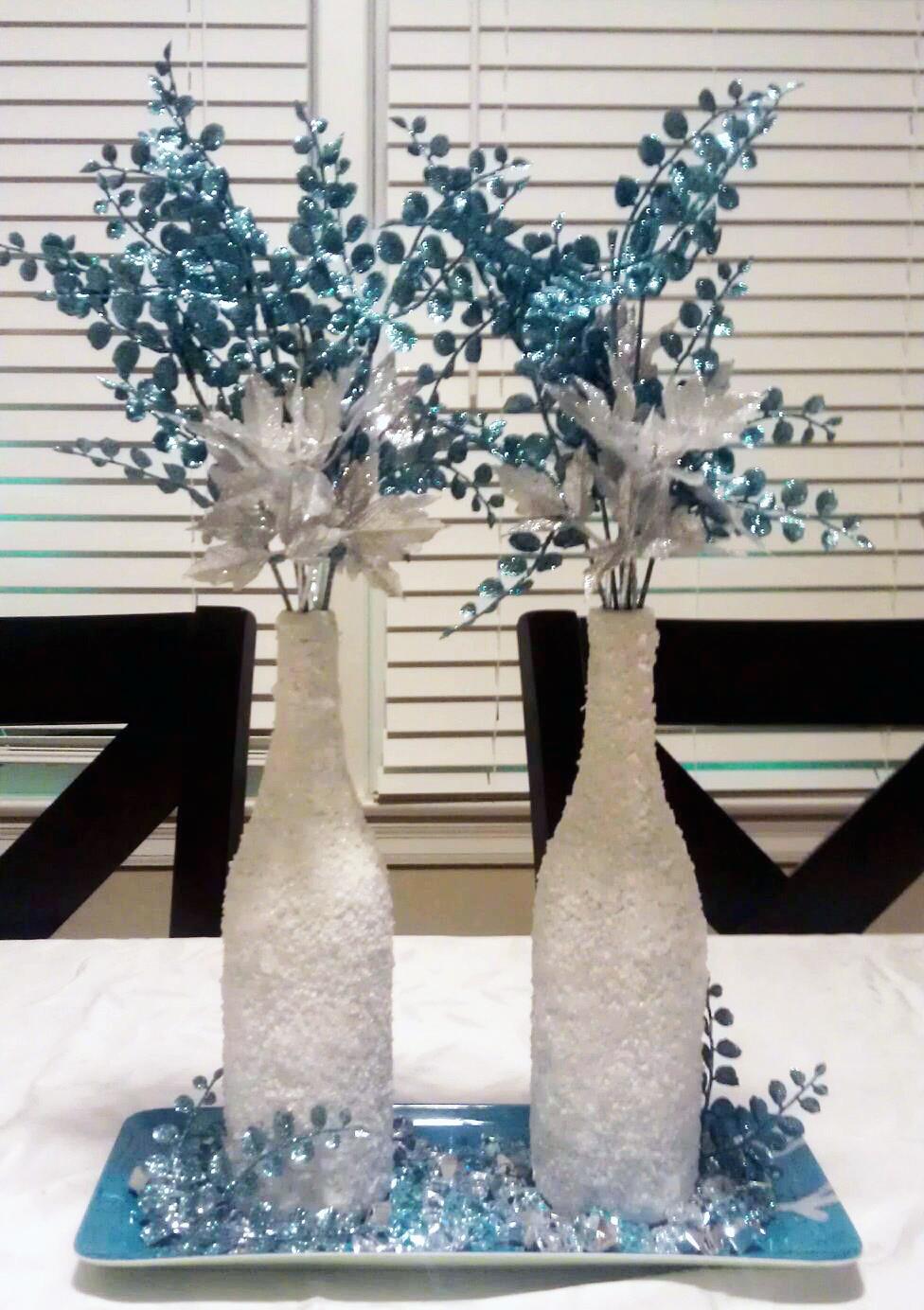 DIY Winter Decor  Monica s Creative Crafts Winter Wonderland Wine Bottles