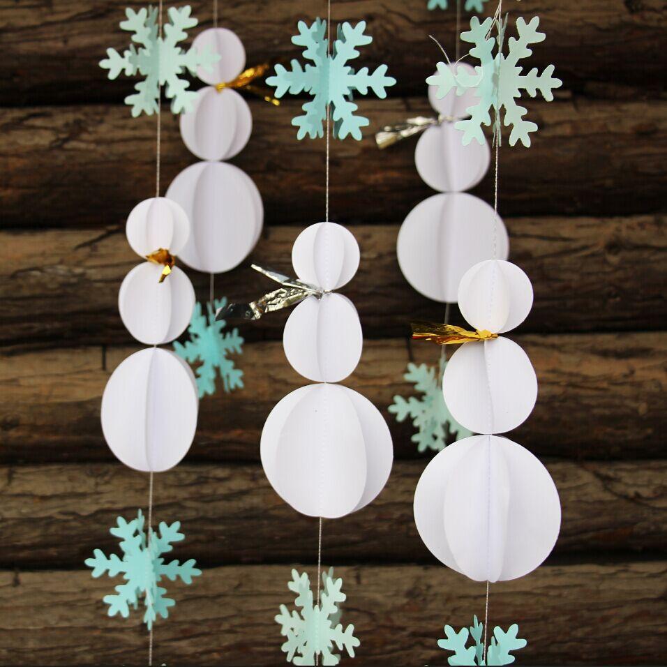 DIY Winter Decor  Snowman Decorations Snowflake Garland Winter Party Decor