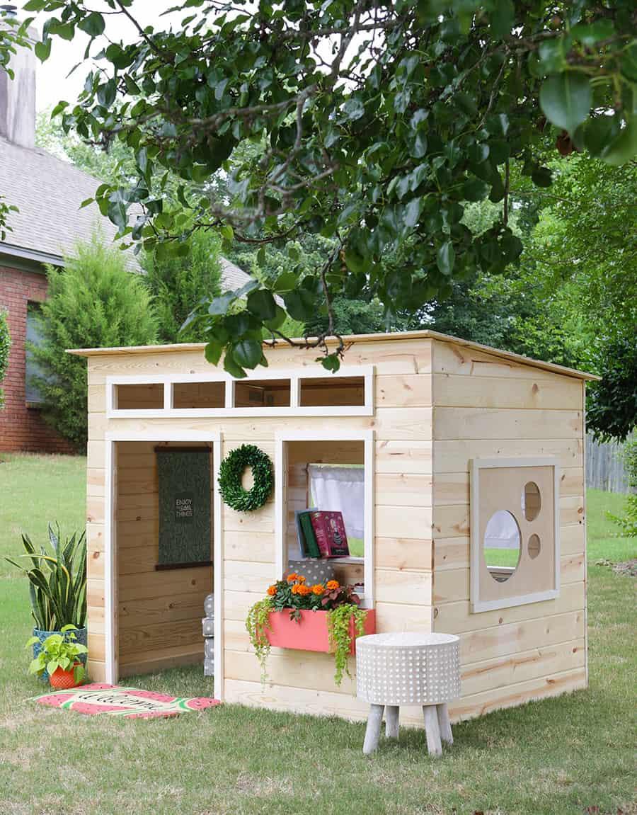 DIY Wood Playhouse  43 Free DIY Playhouse Plans That Children & Parents Alike