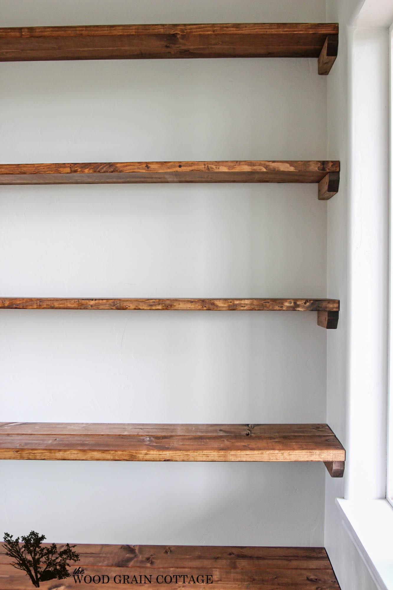 DIY Wood Shelf  DIY Dining Room Open Shelving The Wood Grain Cottage