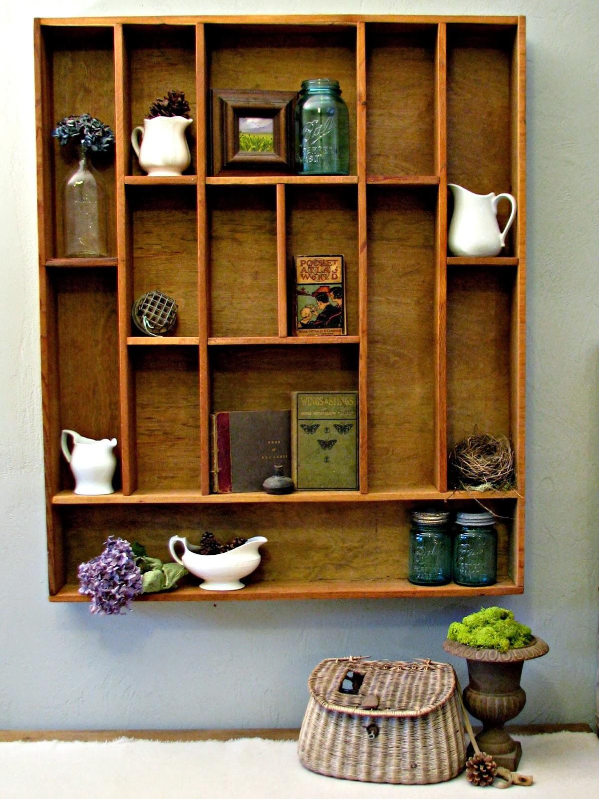 DIY Wood Shelf  blue roof cabin DIY Letterpress Tray Display Shelf Tutorial