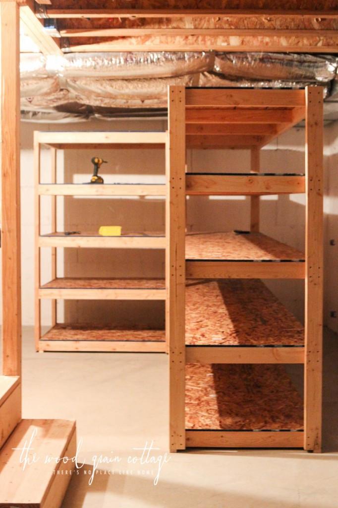 DIY Wood Shelf  DIY Basement Shelving The Wood Grain Cottage