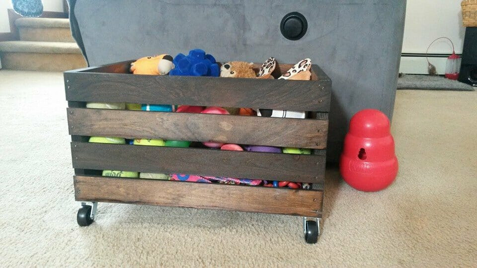 DIY Wood Toys  DIY Wood Crate Rolling Toy Box Kol s Notes