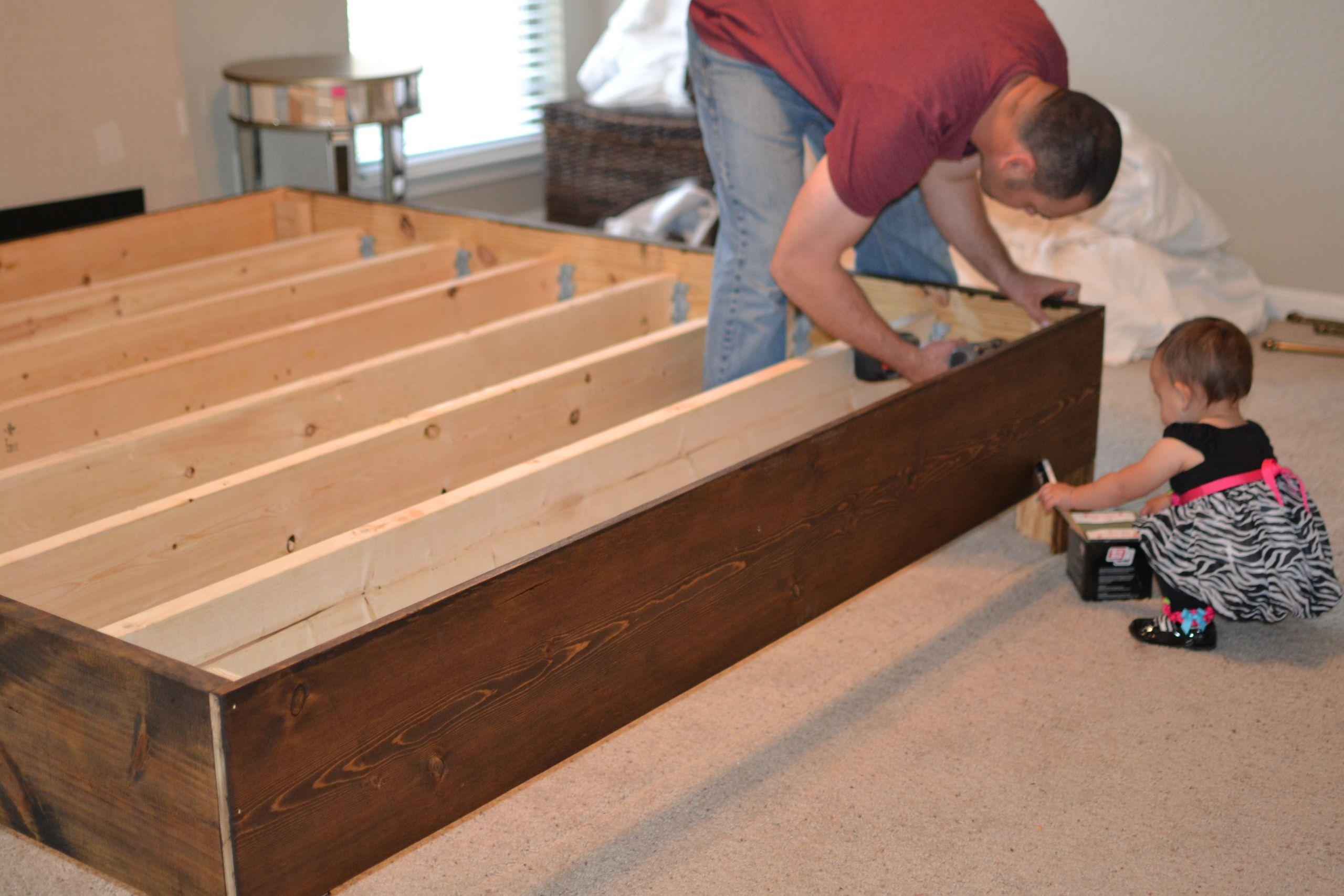 DIY Wooden Bed Frame With Storage  Bedroom Wooden Homemade Bed Frame For Your Bedroom