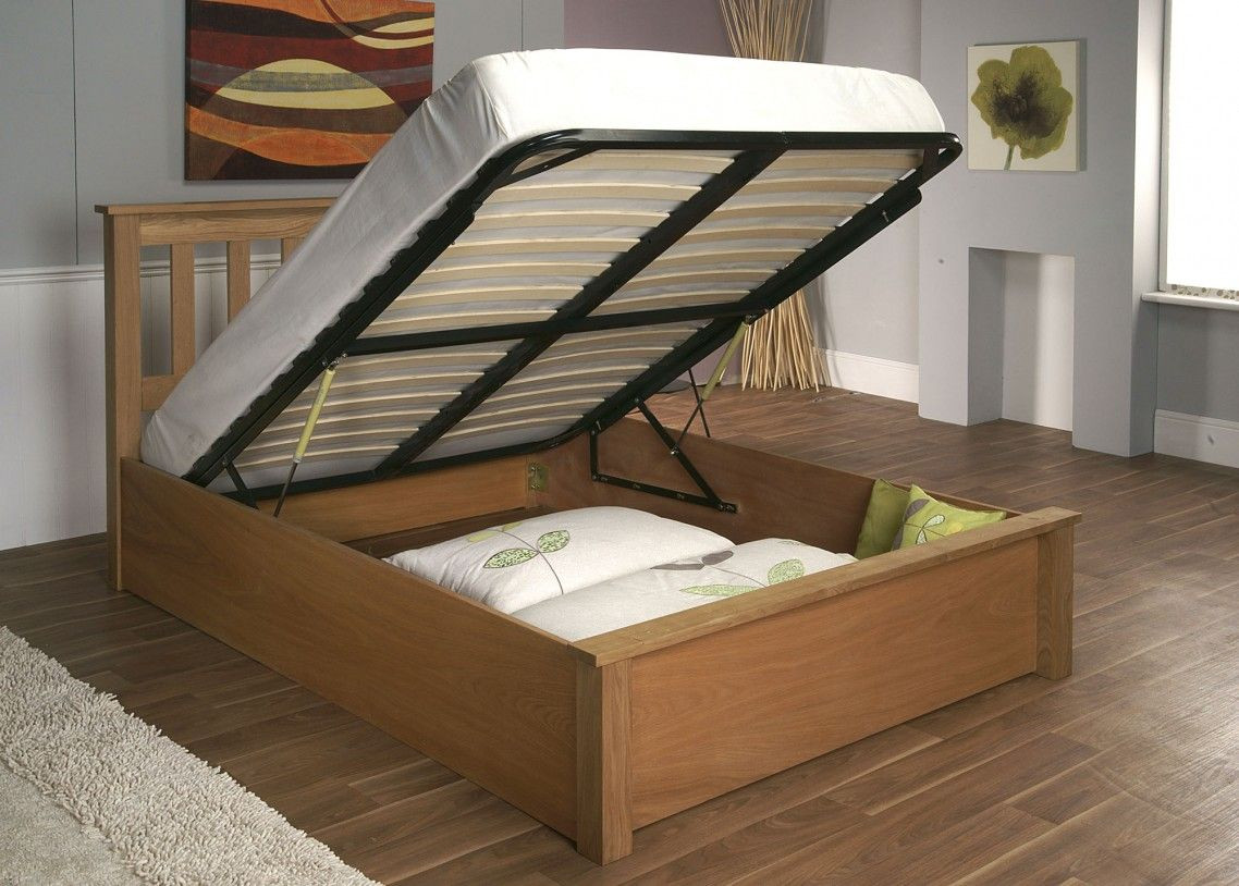 DIY Wooden Bed Frame With Storage  Beige Wooden DIY Bed Frame With Storage Under Black Lift