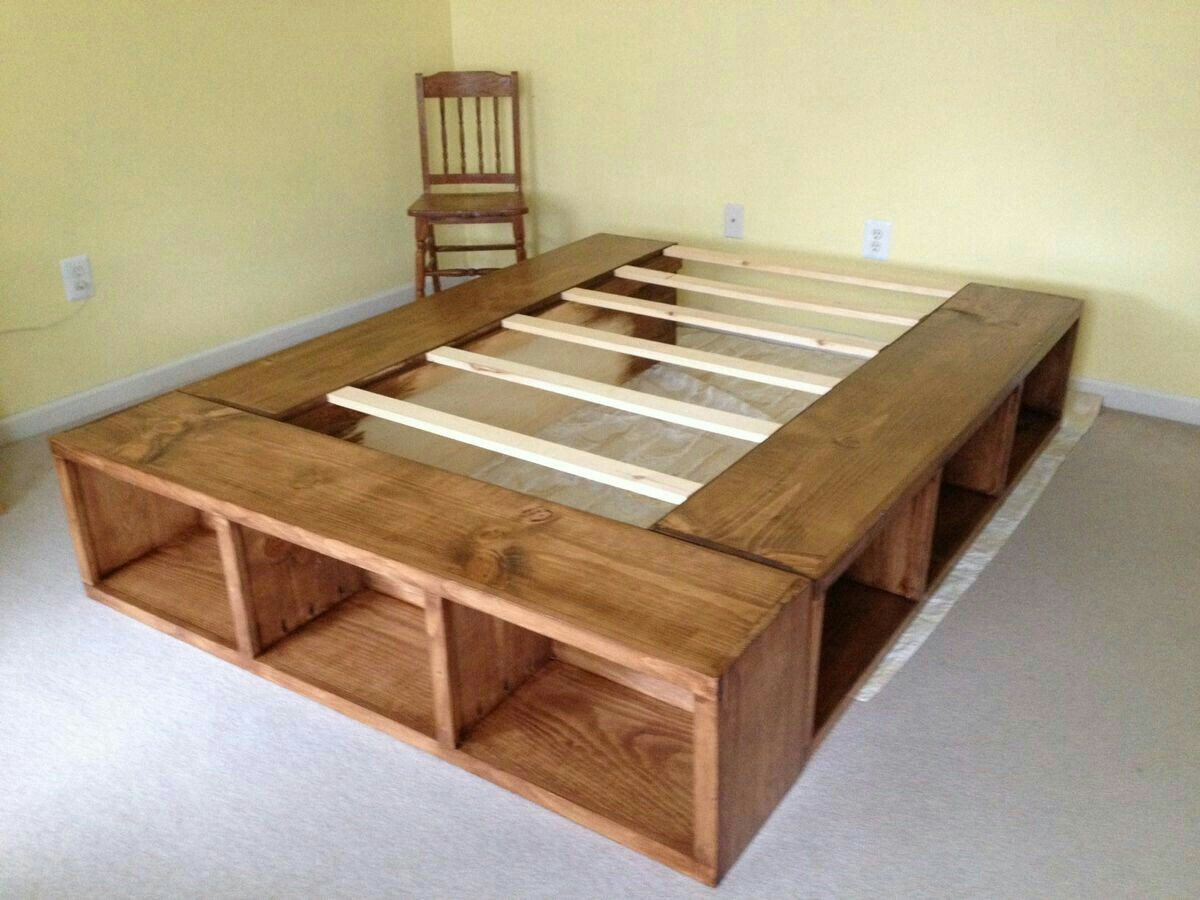 DIY Wooden Bed Frame With Storage  Idea by Dawn Nordstrom on Crates
