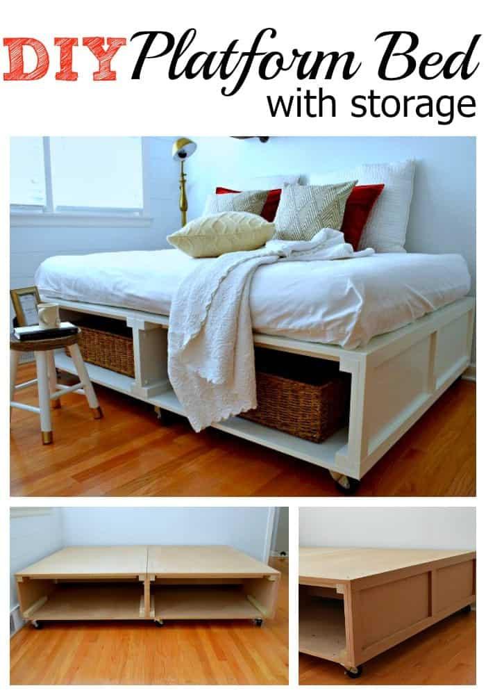 DIY Wooden Bed Frame With Storage  DIY Barn Wood Shelves