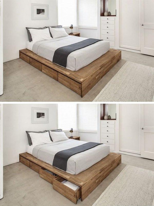 DIY Wooden Bed Frame With Storage  DIY bed frame – creative ideas for original bedroom furniture