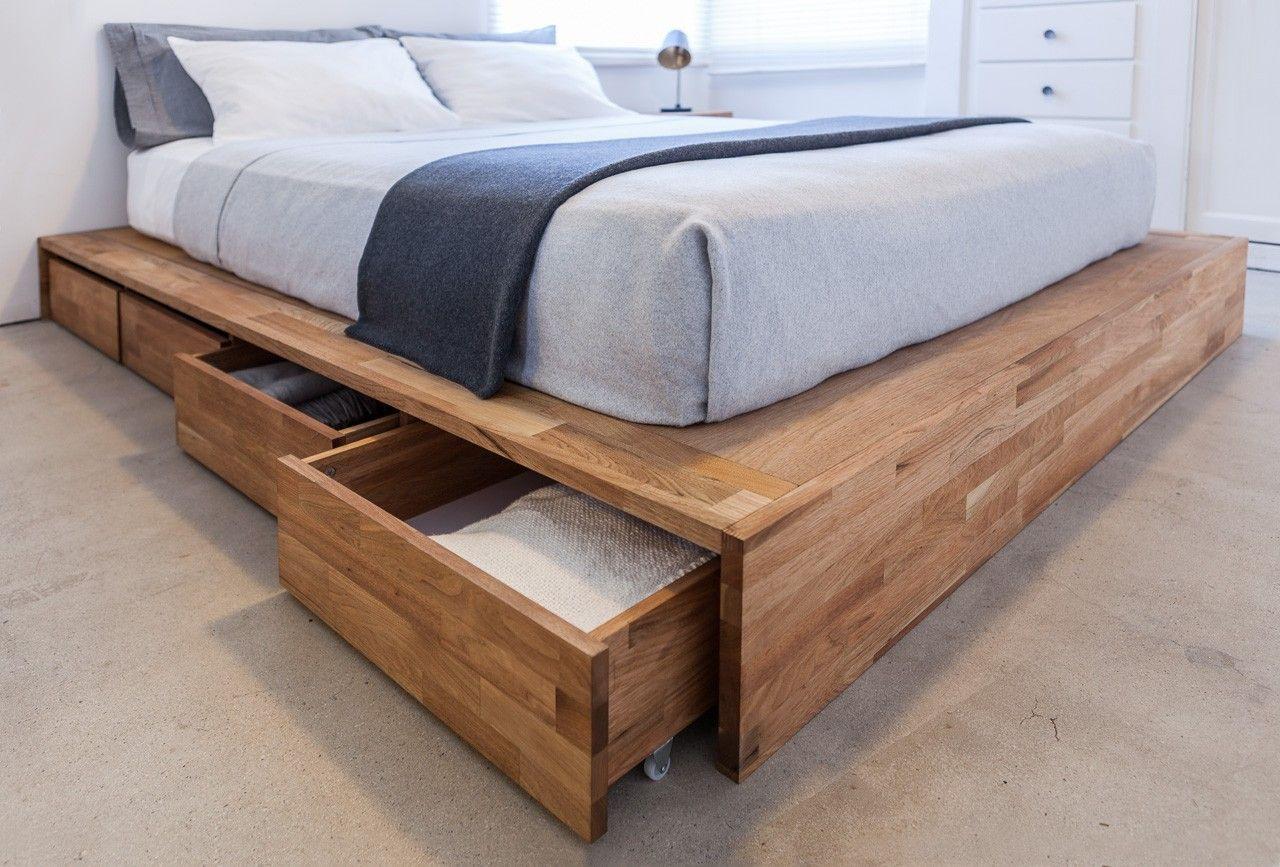 DIY Wooden Bed Frame With Storage  LAX Storage Platform Bed