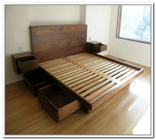 DIY Wooden Bed Frame With Storage  DIY Storage Bed Ideas for Small Places