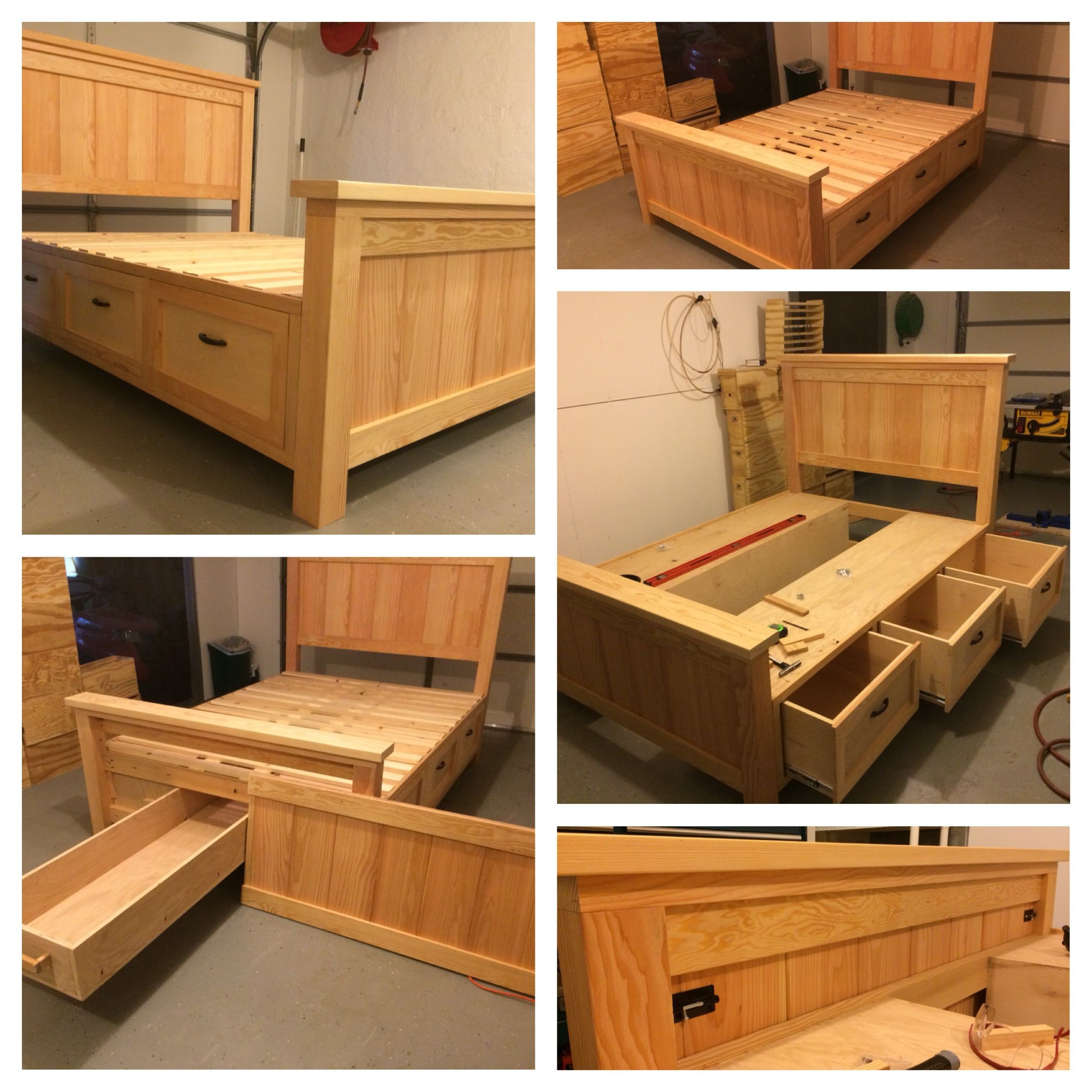 DIY Wooden Bed Frame With Storage  Download Original