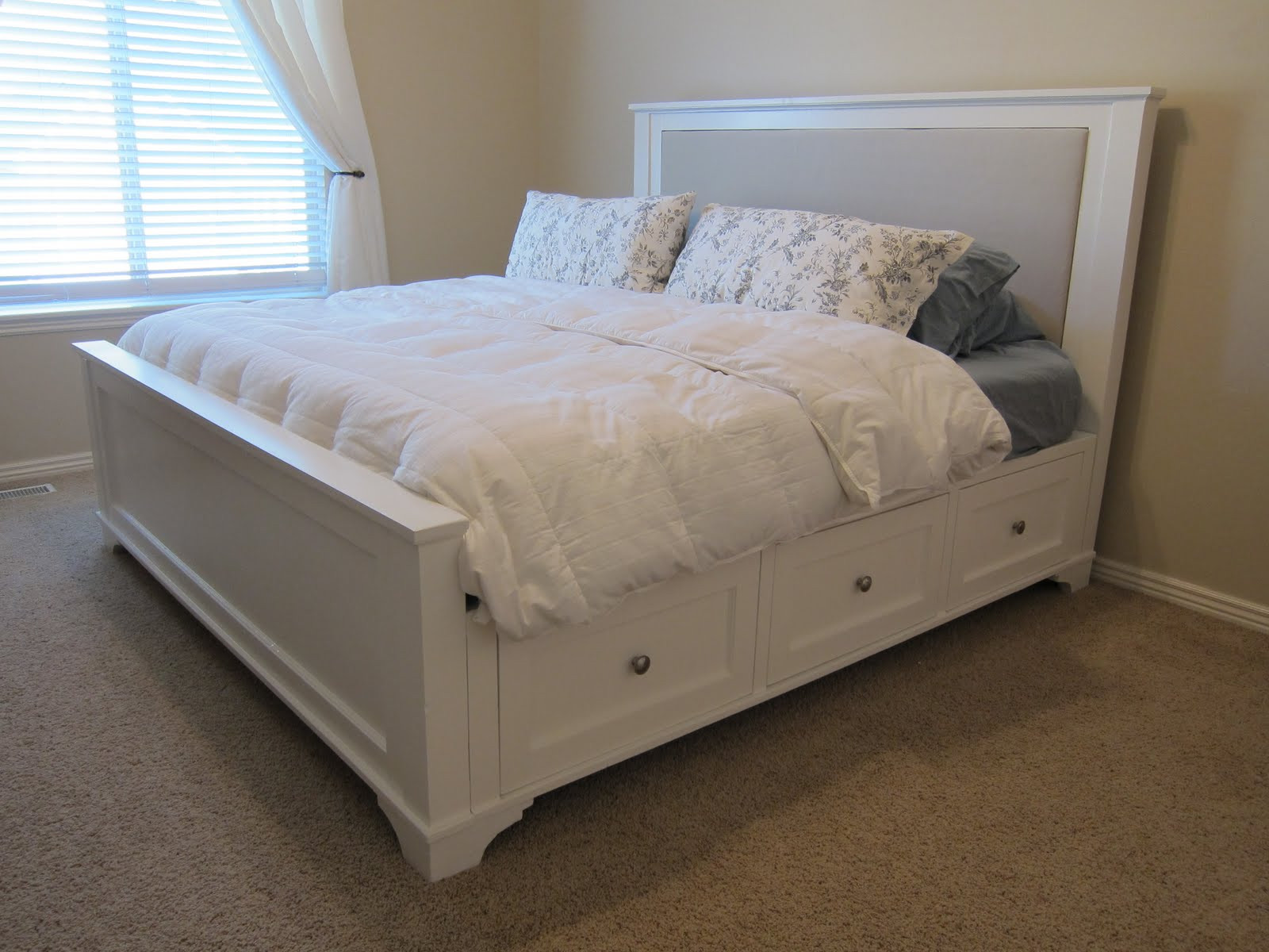 DIY Wooden Bed Frame With Storage  Here s what it looks like today Nightstand tutorial is on
